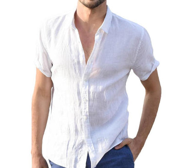 Dress Button Turn Down Collar Slim Fit Solid Casual Short Sleeve Shirts