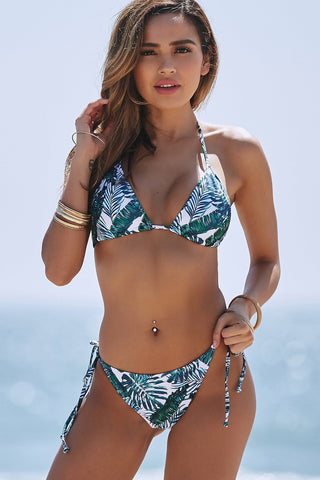 Sexy  Women Push Up Bikini Leaf Printing Bandage Swimwear