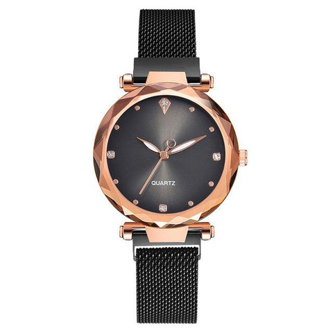 Luxury Diamond Mesh Gold Magnetic Starry Sky Watch Ladies Wrist Watch