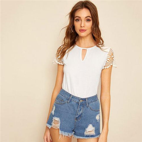 Cut Out Front Guipure Lace Short Sleeve Summer Top T Shirt Women Clothes Casual Round Neck Solid Ladies Fashion Tshirt