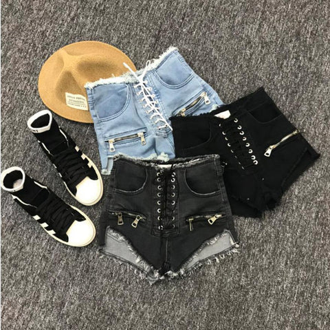 zipper sexy high waist denim shorts