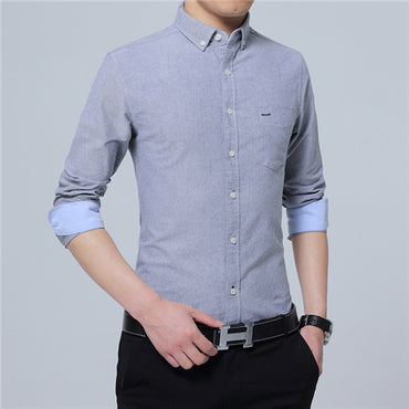 Long Sleeve Solid Business Dress Shirts