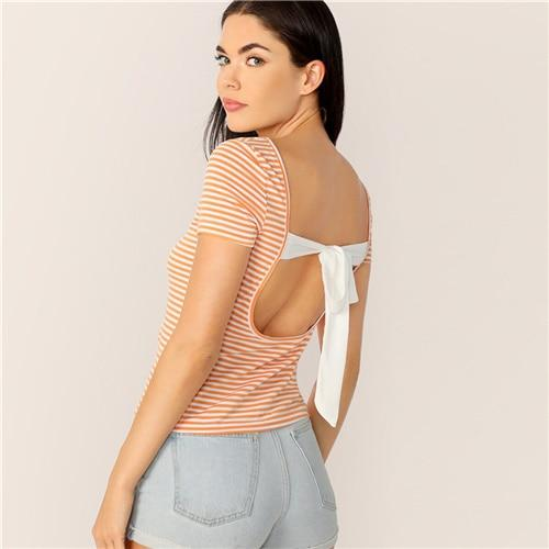Orange Striped Backless Tie Back Sexy Top Slim Fit T Shirt Women Summer Boat Neck Short Sleeve Elegant Cute T-shirts