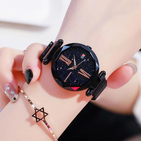 Luxury Women Quartz Watches Starry Sky Stainless Steel Magnetic Mesh Rose Gold Casual Watch