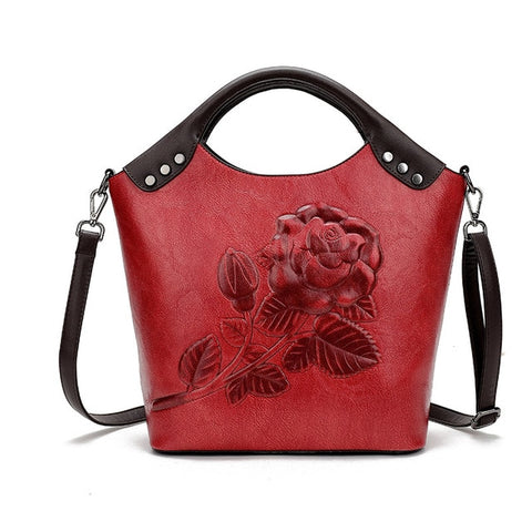 Rose Print Lady Tote Leather Large Capacity handbags