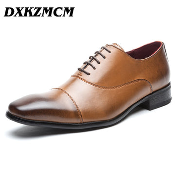 Genuine Leather Men Oxford Lace Up Wedding Party Man Brown Dress Shoes Brogue Men Formal Shoes