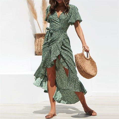 Sexy V Neck Floral Short Sleeve Sashes Maxi Dress