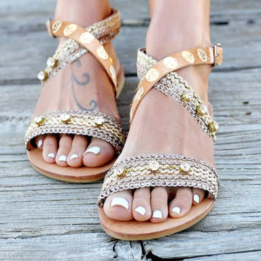 Cross-Tied Bling String Bead Rome Shoes Sweet Handmade Bohemian Flat Beach Sandals