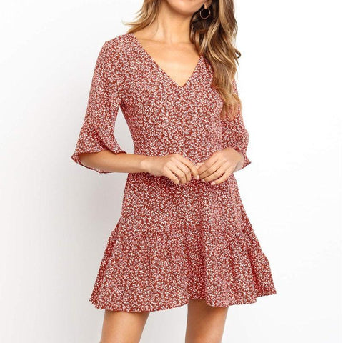 Sweet Floral Butterfly Sleeve V Neck Mini Dress