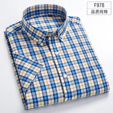 Pure Solid Color  Plaid Cotton Thin Short Sleeve  Shirt