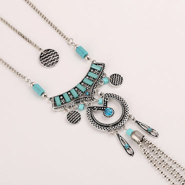 Ethnic Necklace Tassel Green Resin Antique Silver Long Pendant Necklaces