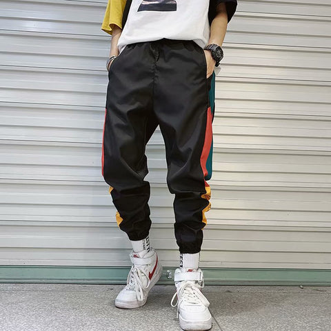 Hip Hop Streetwear Men's Splice Joggers Pants Fashion Men Casual Cargo Pant
