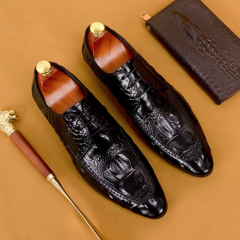 New Mens Dress Shoes Genuine Leather Formal Business Crocodile Pattern Oxford Flats