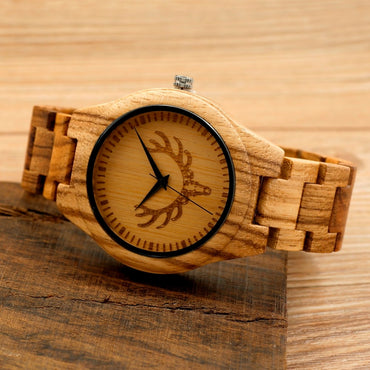 Deer Head Dial Fashion Zebra Wood Watch