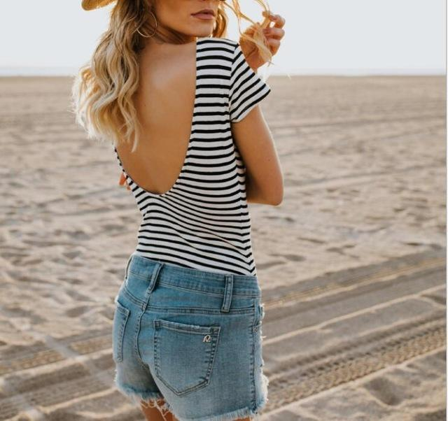 Black and White striped open back T-shirt