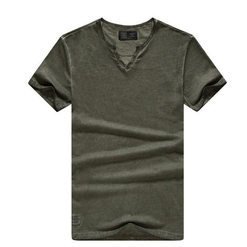 Fashion New  T shirts Solid Color V-neck Tops Tees Slim Fit  T shirts