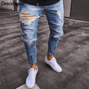 Fashion Streetwear Vintage Destroyed Ripped Elastic Zipper Jeans