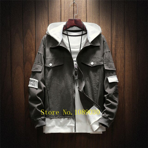 Patchwork Hoodies Men Sweatshirts High Street Denim Jacket