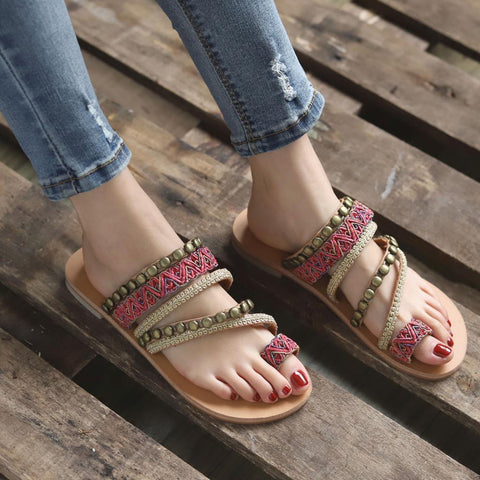 Bohemian Ethnic Style Shoe Female Flat Open Toe Sandals