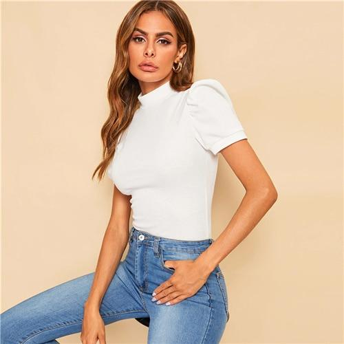 Office Lady White Mock-neck Puff Sleeve Solid Top T Shirt Summer Solid Basic Short Puff Sleeve Elegant Fashion Tshirt Ladies Tops