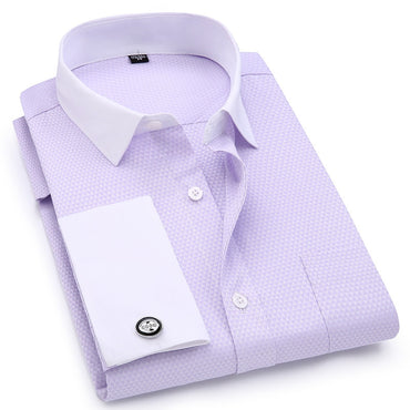 French Cufflinks Shirts White Collar Design Solid Color Jacquard Fabric Dress Shirt
