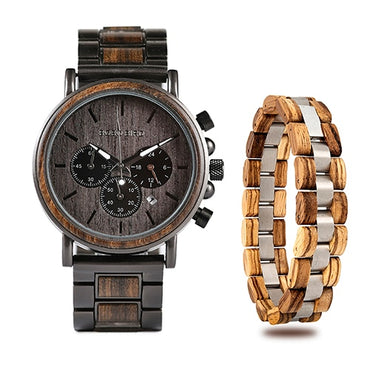 Timepieces Bracelet Set Chronograph Military Wood Watches