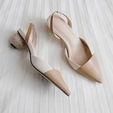 genuine leather high heels sandals