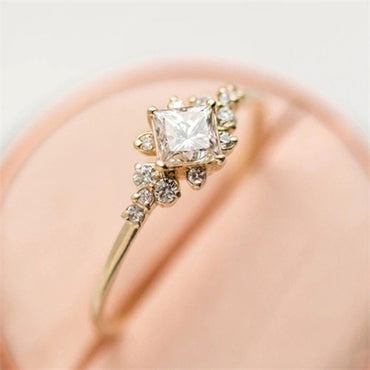 4 Pcs/set Crystal Zircon Gold Ring Set Vintage Bohemian
