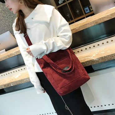 Corduroy Tote Ladies Casual Solid Color Shoulder Handbag