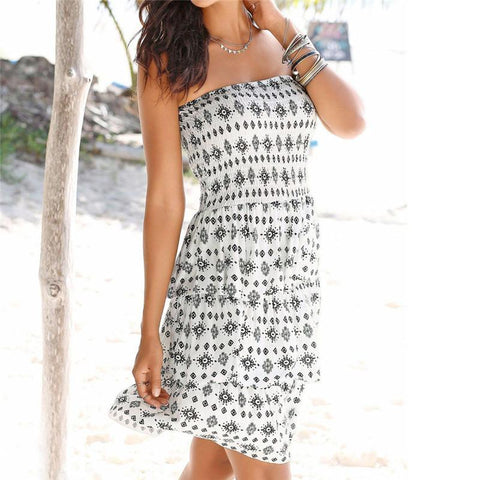 Boho Summer Halter Neck Solid Color Dress