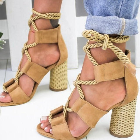 New Boho Sandals Women High Heel Peep Toe Lace Up Sandals