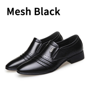 brand PU Leather Fashion Men Business Dress Loafers Pointy Black Shoes Oxford Breathable Formal Wedding Shoes