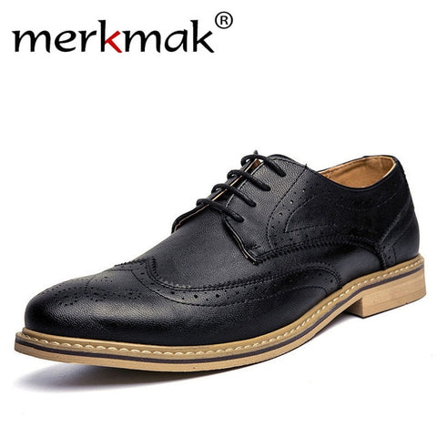 Leather Brogue Mens Flats Shoes Casual British Style Men Oxfords Fashion Brand Dress Shoes