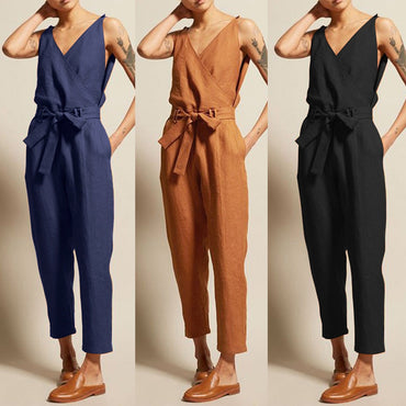 Casual Solid Sleeveless V-Neck Belt Slim Plus Size Linen Lace Up Long Rompers