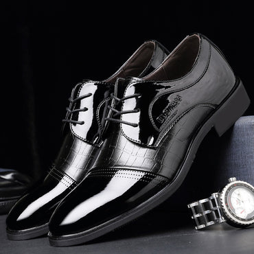 Classical Men Dress Flat Shoes Men's Business Oxfords Casual Shoe Men Black / Blue Leather Shoes