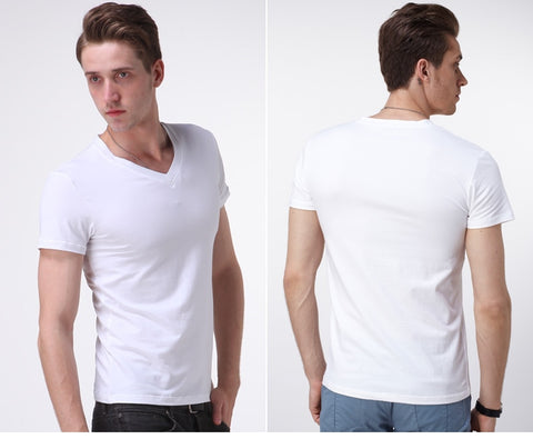 New Arrival  Short-sleeved T-shirt Tide  Solid Pure White Cotton V-neck