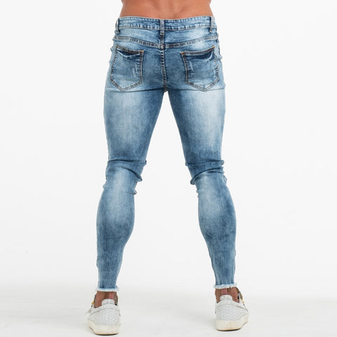 Mens Jeans Slim Fit Bottom Ripped Skinny Jeans