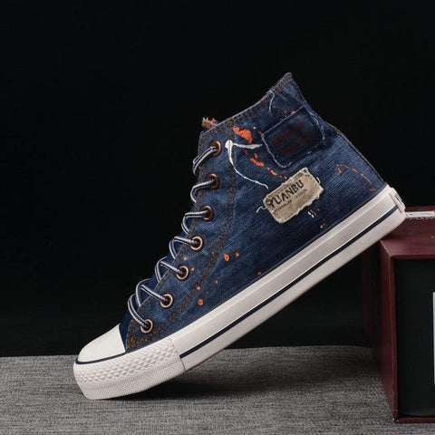 Jeans Men's Canvas Shoes Male Sneakers Lace Up High Top Mens Flat Casual Shoes