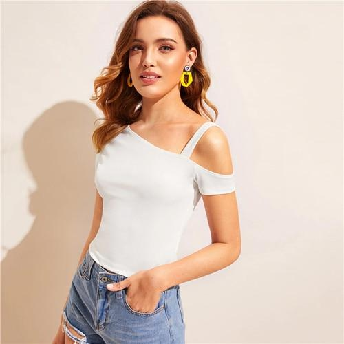 Asymmetrical Neck Solid Top White Cold Shoulder Women Clothes Summer Tee Short Sleeve Slim Fit Fashion Tshirt
