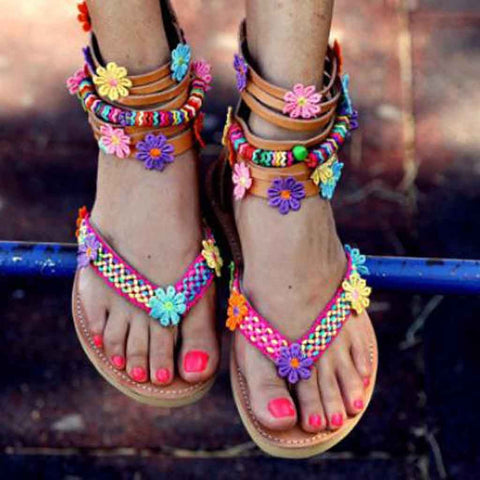 Roman Flowers Zipper New arrival ethnic Round Toe Flat Retro Sandals