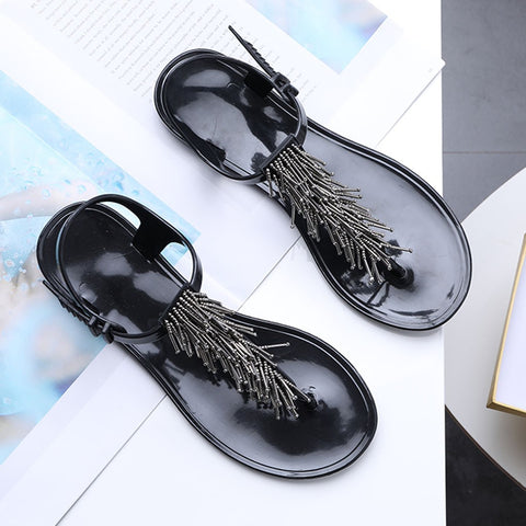 Modern Beaded Buckle Tassel Open Toe Pinch Flat Sandals
