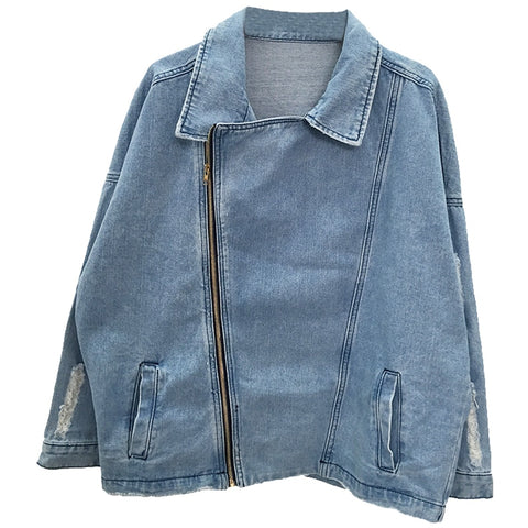 Over-sized Biker Jacket  Casual Vintage Denim Jacket