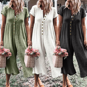 Vintage Rompers Casual Buttons Playsuits Loose Wide Leg Pants Rompers