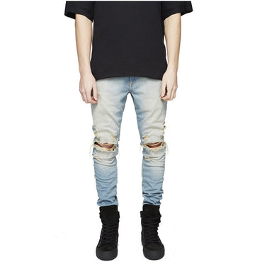 Holes Super Skinny Famous Designer Brand Slim Fit Destroyed Torn Jean