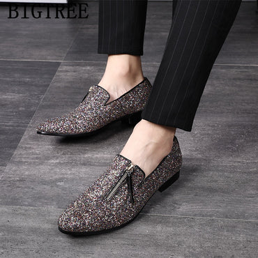 Glitter coiffeur loafers men dress shoes wedding shoes