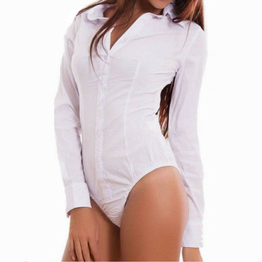 long Sleeve Casual Plain Bodysuit
