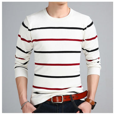 Casual o-Neck Pullover Men Autumn Slim Fit Long Sleeve Shirt Mens Sweaters