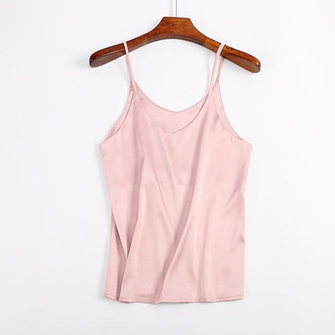 Halter V Neck Basic White Cami Sleeveless Satin Silk Tank Tops