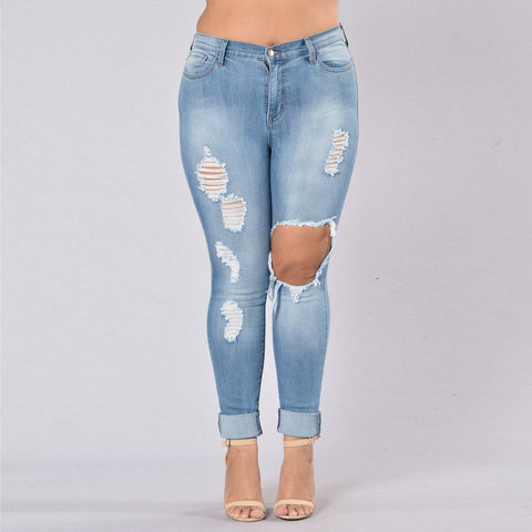 Hight Waisted Plue Size Denim Jeans