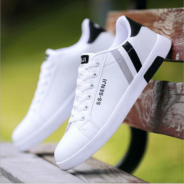 New Small White Shoes Men's Black and White PU Casual Shoes Wild Fashion Classic flat Men's Shoes